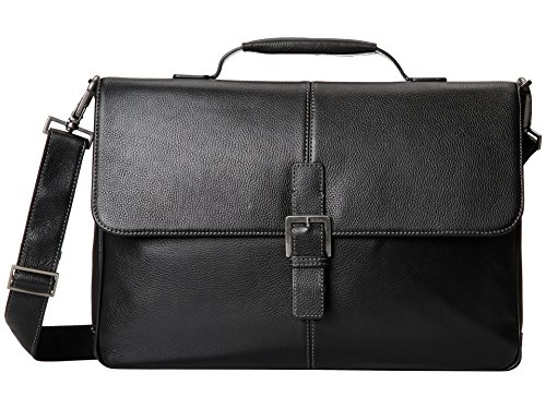 Boconi Tyler Tumbled Brokers Bag (Black with Khaki)
