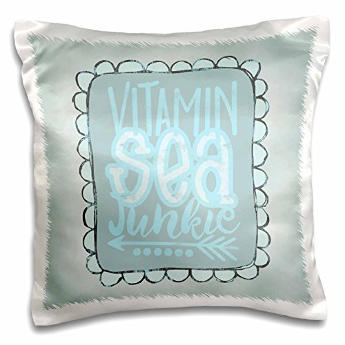 onepicebest Andrea Haase Inspirational Typography - Vitamin Sea Junkie Quote in Pastel Blues - 18x18 inch Pillow Case