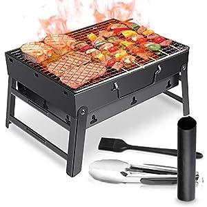 WOSTOO Barbacoa de Carbón, Portátil BBQ Plegable Parrilla Barbacoa de Carbón Diseño de Ventilación, BBQ, Picnic, jardín, Acampadas, Camping (Negro)