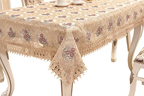 Beautiful Handmade Lace - Adasmile Handmade Lace Fabric Crocheted Patterns Tablecloth/Table Cover with Red Flowers for Rectangle Tables for Party,Wedding,Light Brown,60