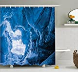 Ambesonne Natural Cave Decor Shower Curtain, Glacier Frozen Chilled Den in Iceland Natural Odd Forms Nordic Scandinavian Image, Polyester Fabric Bathroom Set with Hooks, 84 inches Extra Long, Blue