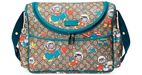 Gucci Space Cats Zip Supreme Print GG Canvas Diaper Bag Blue Boy Baby Italy New by Gucci