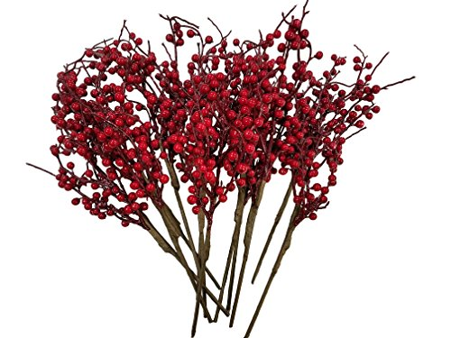 CraftMore Christmas Red Berry Twig Stem, 16 Inch, Set of 12 ()