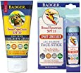Badger SPF30 Lavender Sunscreen and SPF35 Sport Sunscreen Face Stick Combo Pack
