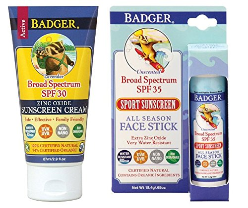 Badger SPF30 Lavender Sunscreen and SPF35 Sport Sunscreen Face Stick Combo Pack -