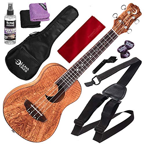 Luna Exotic Series Spalt Maple Concert Ukulele with Crescent Moon Soundhole and Uke Strap Basic Accessory bundle