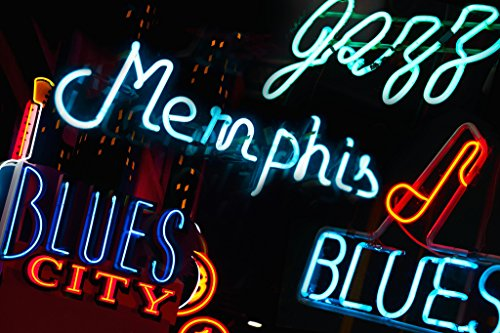 Neon Signs on Beale Street in Memphis Tennessee Photo Art Print Poster 18x12