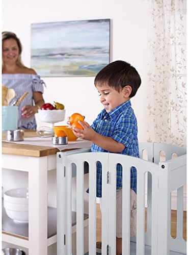 Guidecraft Contemporary Kitchen Helper Stool - Gray W/Keeper and Non-Slip Mat: Folding, Adjustable Height Counter Wooden Step Stool for Toddlers, Children Safety Tower, Kids Learning Furniture