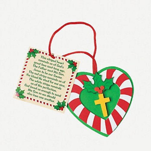 Candy Cane Cross Ornament Craft Kit (Makes 12)