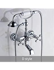 HomJo Bathroom Faucet Polished Chrome Brass Ceramic Telephone Shower Hand Shower Dual Handle Dual Hole 4