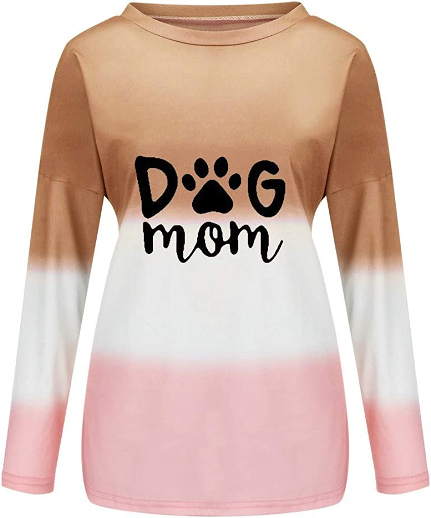 Eoeth Dog MOM Letter Printed Blouse,Womens Casual Long Sleeve Sweatshirt Gradient Dyed Pullover Blouse Shirts T-Shirts