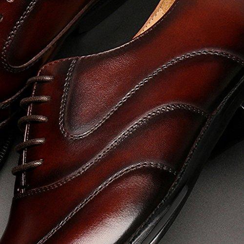 Zapatos de estilo Zapatos cuero de cuero Hombre formal puntiagudo Color Negro de de Tamañ hombres de Piel para estilo de Clásicos negocios de masculino de Zapatos primavera británico de Marrón desgaste RSnq5aX