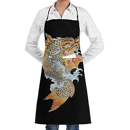 Novelty Koi Dragon Tattoo Kitchen Chef Apron With Big Pockets - Chef Apron For Cooking,Baking,Crafting,Gardening And BBQ ()