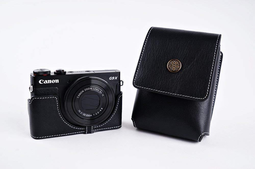 キャノン G9 X 用本革レンズカバー付カメラケース ブラック B07SGPMZRQ カメラケース&レンズカバー単品&ストラップTP15 FreeSize