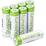 Lumsing 2500mAh AA Rechargeable Batteries 8-Pack Ni-MH With Battery Storage Box