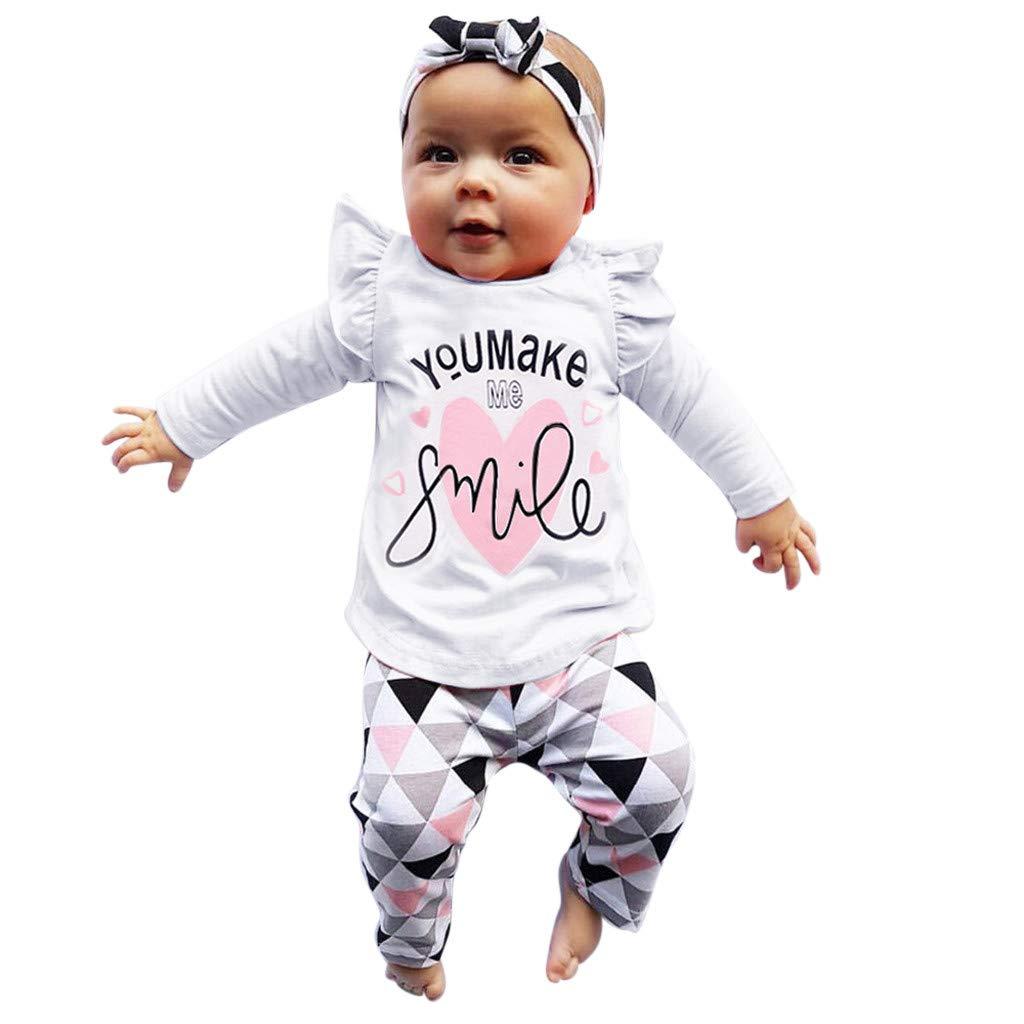 Hut Outfits Set Kleider 0-18M Babykleidung Neugeborene Set,Covermason S/ü/ß 3PCS Neugeborenes Junge M/ädchen Strampler Tops Lange Hosen