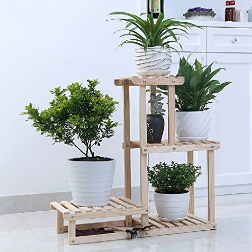 Flower Stand Balcony Wood Simple Modern Living Room Hanging Blue Indoor Plant Flower Rack 702571cm ( Color : Wood color ) by LITINGMEI Flower rack