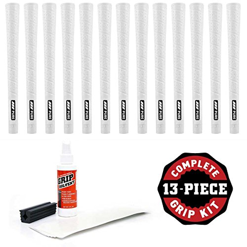 PURE Grips Jumbo Wrap White - 13 Pc Golf Grip Kit (with Tape, Solvent, Vise Clamp) ( ()