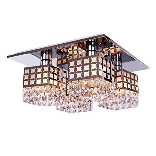 Aero Snail Modern Crystal Stainless 4-Light Living Room Chandelier Lighting Bedroom Flushmount