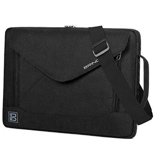 BRINCH Durable Envelope Nylon Fabric 14 Inch Laptop/Notebook / MacBook/Ultrabook/Tablet Computer Bag Shoulder Carrying Envelope Case Pouch Sleeve with Shoulder Strap Pockets and Card Slots (Black) ()