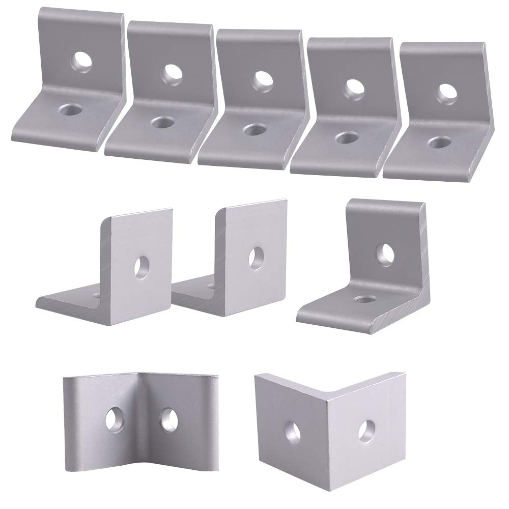 Ewead. 30 x 30 x 26mm 2 Hole 3030 Series Inside Corner Bracket for Aluminum Extrusion Profile with Slot 8mm 10 Pieces
