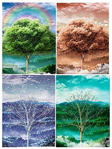FOUR SEASONS UNFRAMED Holographic Wall Art-POSTERS That FLIP and CHANGE images-Lenticular Technology Artwork--MULTIPLE PICTURES IN ONE--HOLOGRAM Images Change--Technology by THOSE FLIPPING PICTURES