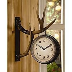 CHSGJY Deer Park Antler Wall Clock Two Sided Metal Rustic Cabin Lodge Hunting Decor