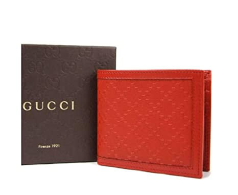 be571190d1f Image Unavailable. Image not available for. Color  Gucci Hillary Lux Red Leather  Bifold Wallet ...
