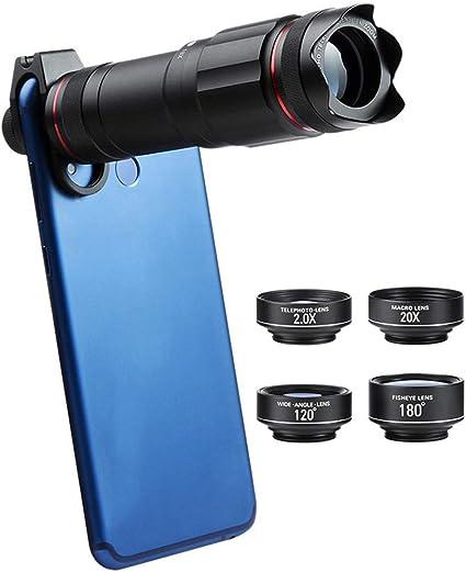 MAI&BAO Teléfono Celular Kit Lentes cámara, 5 en 1 Universal 18x Zoom Teleobjetivo, Fisheye,4K HD Gran Angular,20X Macro,Viajes, Fiesta, Foto, Regalo, Negro para Smartphone: Amazon.es: Deportes y aire libre