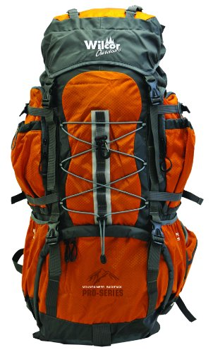 Mountaineer 60-Liter Pro Pack (11 Pockets, Cover, Loops) (Water Bladder Ready) by Hiking BackPack