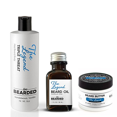 Beard Kit - True Beardsman (Beard Oil, Beard Butter, and Beard Wash) Cleans, Conditions, and Shapes Your Beard (Sandalwood Vanilla - The Legend)