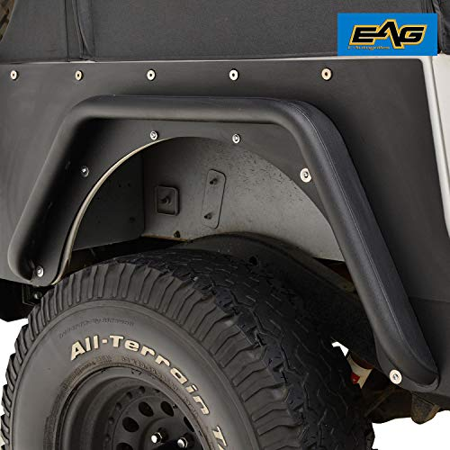 (EAG Rear Fender Flares Armor Rocker Guards With Hardware Kit for 87-96 Jeep Wrangler)