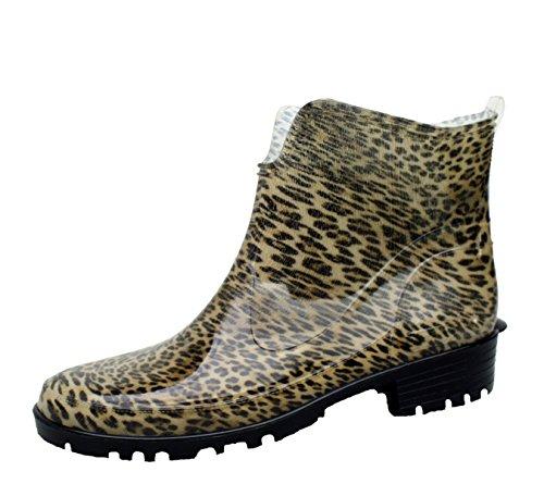 BOCKSTIEGEL® HILDE Mujer - Medio Botas de Goma con Estilo Leopardo (Tallas: 36-42) Leopard
