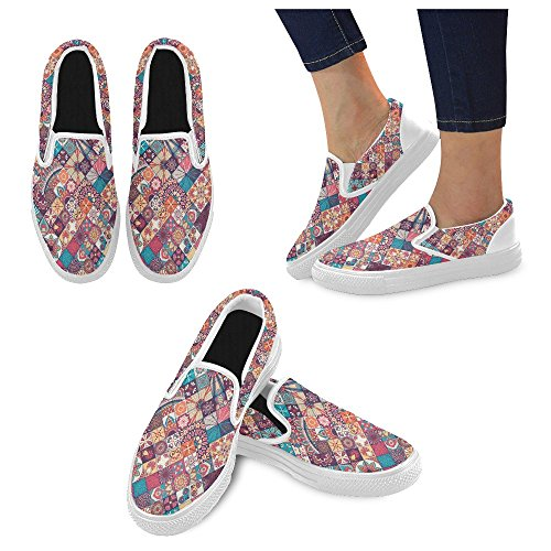 Unique Debora Mode Personnalisé Baskets Féminines Mocassins Inhabituels Slip-on Chaussures En Toile Multicoloured15