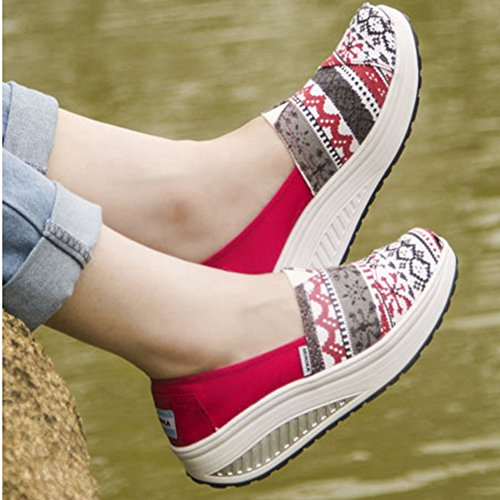 Womens Canvas Walking Sneakers Breathable Slip-On Shaking Fitness Work Out Lightweight Shoes By Btrada Red sVSfpf