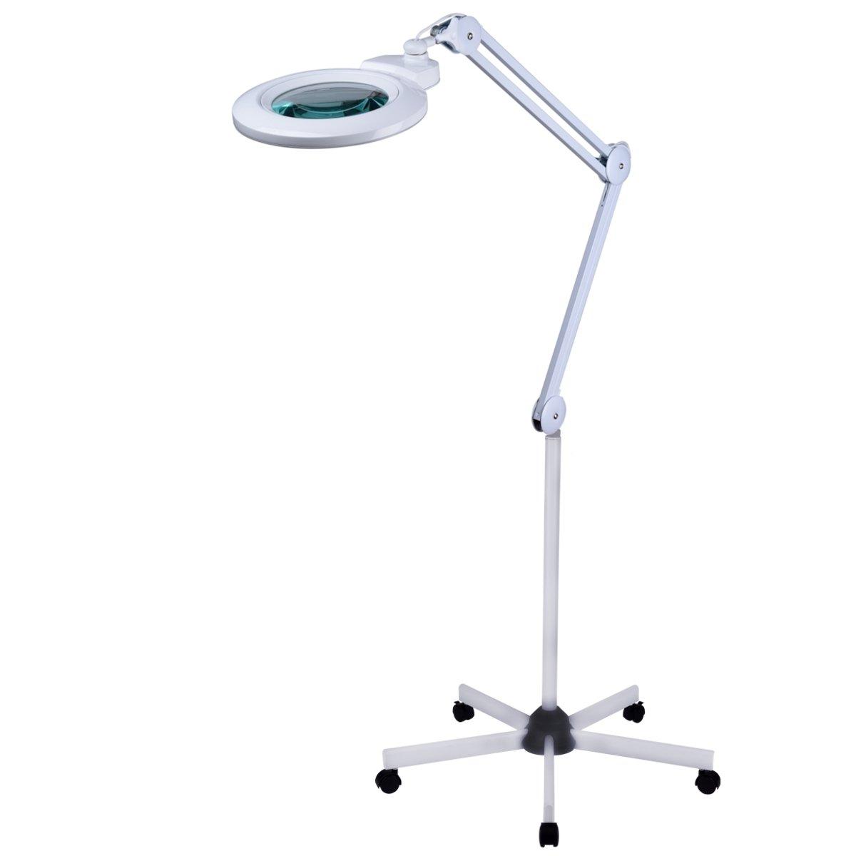 Komerci Lupenleuchte mit Stativ 150mm Wechsellinse 5 Dioptrien, 12W, 12W, 12W, Lupenlampe Rollstativ Standlupe, KML-9006LED-FS2, weiß 36d2df