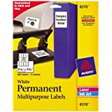 Avery Permanent ID Labels for Laser and Inkjet Printers, 1.25 x 1.75 Inch, White, 480 Labels (06570)