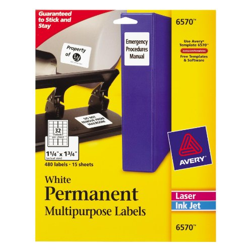 Barcode Labeling Software (Avery Permanent ID Labels for Laser and Inkjet Printers, 1.25 x 1.75 Inch, White, 480 Labels (06570))