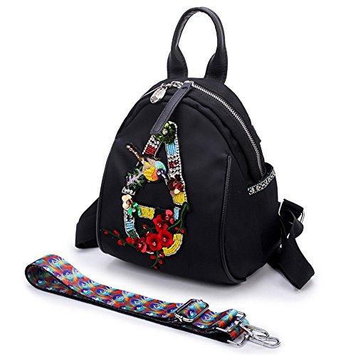 à Sac one MSZYZ Usage Bandoulière Minibackpack Tissu Oxford à Brodées Fleurs Double Style 448Y6q