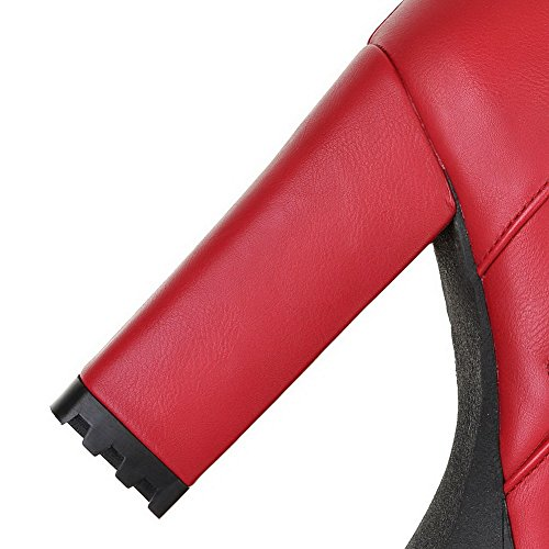 Allhqfashion Women's Round Closed Toe Solid Low Top High-Heels Boots Red hrysfzoP