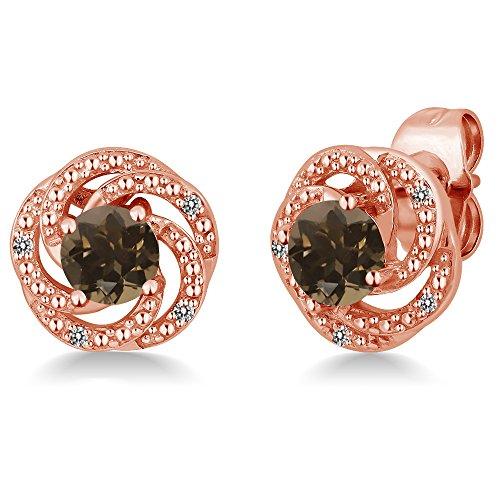 Gem Stone King 0.98 Ct Brown Smoky Quartz White Diamond 18K Rose Gold Plated Silver Flower Design Earrings