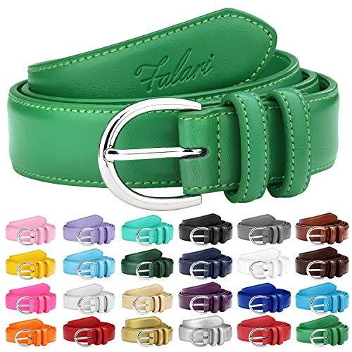 Falari Women Genuine Leather Belt Fashion Dress Belt With Single Prong Buckle 6028-KellyGreen-S