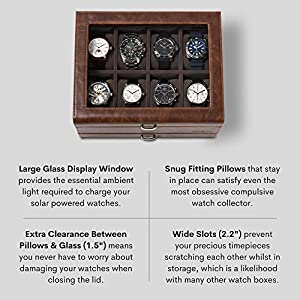 TAWBURY Leather Watch Box Case – Luxury Display Cases for Large Mens Wrist Watches | Dresser Organizer with Jewelry, Sunglasses & Watch Band Storage | Watchbox with Valet Drawer | Gifts for Men Him