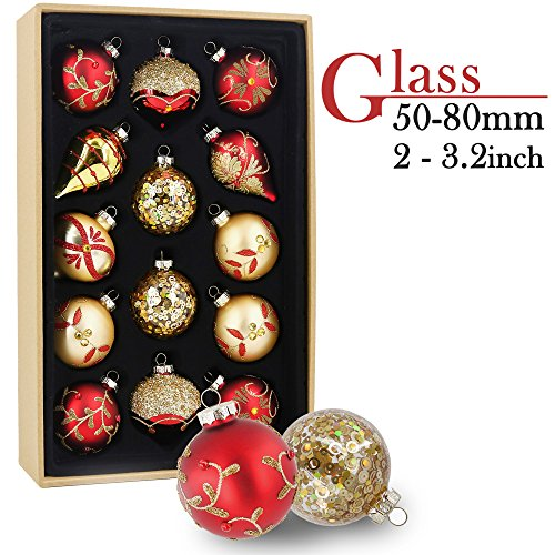 Glass Balls Christmas Ornaments - Valery Madelyn 14ct 50-84mm Luxury Red and Gold Glass Christmas Ball Ornaments Decoration,5-8.4cm/1.97-3.31 Inch,14 Pcs Metal Hooks Included, Themed with Tree Skirt(Not Included)