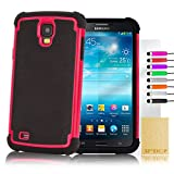 """32nd® Shock proof defender heavy duty tough dual case cover for Samsung Galaxy Mega 6.3"""" i9200 i9205 + screen protector, cleaning cloth and touch stylus - Hot Pink"""