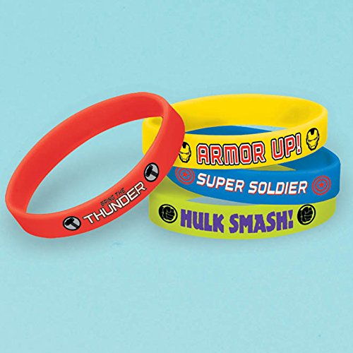 Avengers Rubber Bracelets, 4 Count, Party Supplies Novelty, Multicolored
