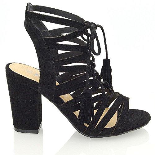 ESSEX GLAM Gamuza Sintética Zapatos de fiesta con tacón cuadrado y parte trasera abierta con tiras anudadas Negro Gamuza Sintética