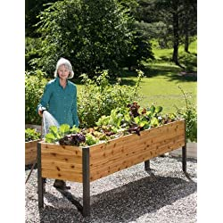 "Gardener's Supply 2 Ft x 8 Ft Raised Garden Bed Elevated Cedar Planter Box Standing Garden (24"" x 96"")"