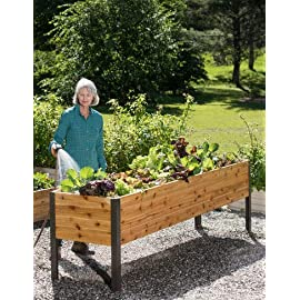 "Gardener's Supply 2 Ft x 8 Ft Raised Garden Bed Elevated Cedar Planter Box Standing Garden (24"" x 96"") 18 ERGONOMIC and EASY- Easily grow vegetables and flowers without kneeling or bending. Perfect for your deck, patio or backyard. Being elevated, it keeps your crop pest free of rabbits, moles, and other ground pests. GENEROUS SIZE - Add 16 square feet of growing space on your porch, patio or deck overall size is 96""Lx24""Wx29""H. The bed is 10 inches deep so you can grow big plants like tomatoes and root crops like carrots. LONG LASTING and STRONG - Attractive look made from naturally rot-resistant cedar with heavy duty rustproof aluminum legs and corners"