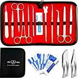 22 Pcs Advanced Dissection Kit For Anatomy & Biology Medical Students With Scalpel Knife Handle - 11 Blades - Case - Lab Veterinary Botany Stainless Steel Dissecting Tool Set For Frogs Animals etc (22)
